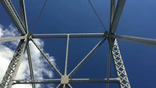 Looking up at the steel beams of the Ambridge Bridge, about 20 miles down the Ohio River from Pittsburgh, PA.