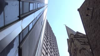 Looking up at the tall buildings in downtown Pittsburgh, PA.