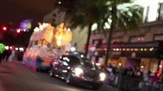 Mardi Gras Parade at Night Defocused Establishing Shot