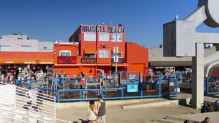 VENICE BEACH, CA - Circa February, 2015 - An establishing shot of Muscle Beach on the boardwalk of Venice Beach.