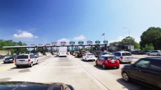NEW JERSEY - Circa August, 2016 - A driver's POV headed into the New Jersey I-78 toll booth plaza on the way into Manhattan.