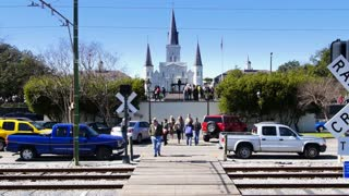 New Orleans Street Car Passes Jackson Square 4065