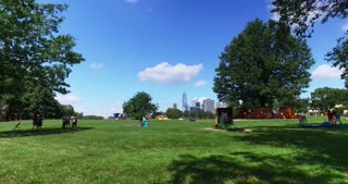 NEW YORK - Circa August, 2016 - A daytime establishing shot of the Manhattan skyline on a summer's day as seen from Governors Island.