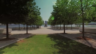 NEW YORK - Circa August, 2016 - A daytime summer establishing shot of the mall at Franklin D. Roosevelt Four Freedoms Park on the southern end of Roosevelt Island.