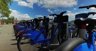 NEW YORK - Circa August, 2016 - An establishing shot of a row of Citibikes awaiting to be rented by tourists on Governors Island.