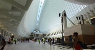 NEW YORK - Circa August, 2016 - An interior establishing shot of the new Oculus transportation and shopping hub in the final stages of construction at the base of the new Freedom Tower.