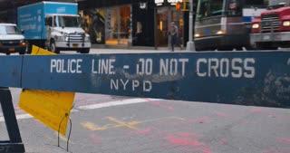 NEW YORK - Circa December, 2016 - A temporary NYPD barricade blocks the sidewalk near Trump Tower in Midtown Manhattan.