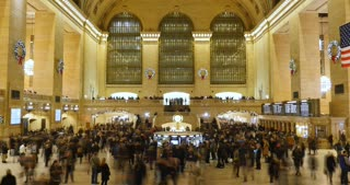 NEW YORK - Circa December, 2016 - A time lapse view of the hustle and bustle inside busy Grand Central Station decorated for Christmas.