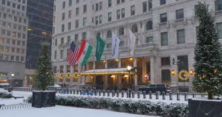 NEW YORK - Circa December, 2016 - A winter establishing shot of the famous Plaza Hotel in Midtown Manhattan near Central Park.