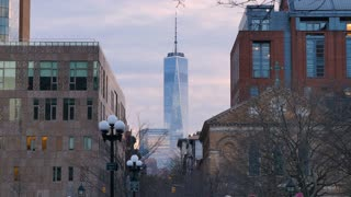 NEW YORK - Circa December, 2016 - A winter evening establishing shot of the Freedom Tower as seen from Washington Square Park.