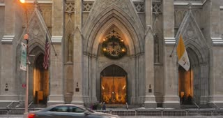 NEW YORK - Circa December, 2016 - A wintry establishing shot of the grand entrance to St. Patrick's Cathedral in Midtown Manhattan.