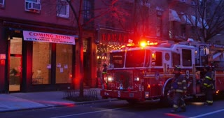 NEW YORK - Circa December, 2016 - Fire personnel attend to a situation at a business in Manhattan.  Greenwich Village area.