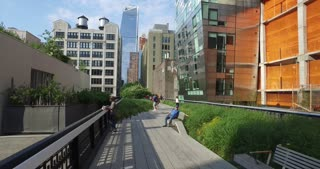 NEW YORK - Circa July, 2016 - A personal perspective of walking on the High Line in Manhattan.