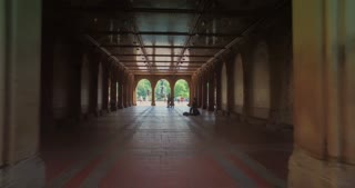 NEW YORK - Circa July, 2016 - A personal perspective walking through Bethesda Terrace in Central Park.