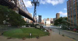 NEW YORK - Circa July, 2016 - A time lapse view of a passenger's perspective riding the Roosevelt Tramway to Manhattan.