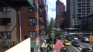NEW YORK - Circa July, 2016 - A view up 2nd Avenue in Manhattan as seen from the Roosevelt Tramway.