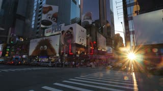 NEW YORK - Circa July, 2016 - Sunset over Times Square in Manhattan.