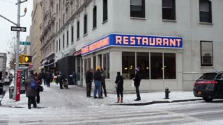 NEW YORK CITY - Circa, December 15, 2013 - A winter establishing shot of Tom's Restaurant, a location made famous in the American sitcom, Seinfeld.