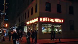 NEW YORK CITY - Circa, December, 2014 - A nighttime establishing shot of Tom's Restaurant, a location made famous in the American sitcom, Seinfeld.