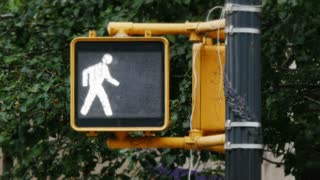NEW YORK CITY - Circa, July, 2014 - A close up shot of the walk don't walk sign at an intersection in New York City.
