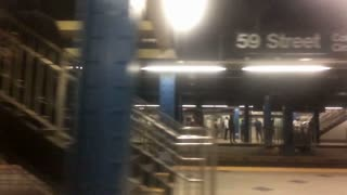 NEW YORK CITY - Circa, July, 2014 - An extreme, 120-fps slow motion shot of a subway leaving the Columbus Circle 59th Street station.
