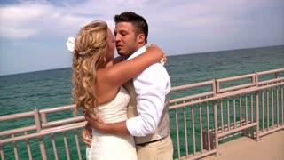 Newlywed Couple Kiss