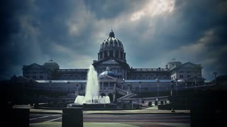 Ominous storm clouds over the capitol building in Harrisburg, Pennsylvania.