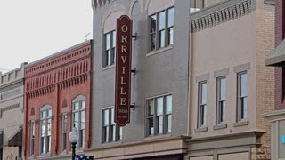 ORRVILLE, OHIO - Circa August, 2015 - An establishing shot of the main street of Orrville, Ohio, home to the company of the J.M. Smucker Company.