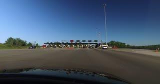 PENNSYLVANIA - Circa September, 2016 - A driver's perspective heading through the EZ-PASS lane on the Pennsylvania Turnpike.