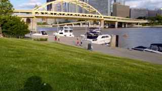 People Jog near Pittsburgh's North Shore