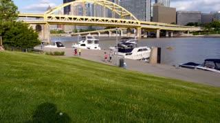 People Jog near Pittsburgh's North Shore