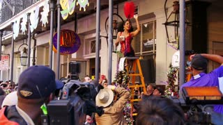 People Watch the Greasing of the Poles Festival at Mardi Gras 4084