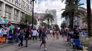 People Watching a Mardi Gras Parade on Canal Street 4107