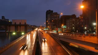 PITTSBURGH - Circa December, 2016 - A night timelapse view of traffic in downtown Pittsburgh, PA.