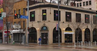 PITTSBURGH - Circa December, 2016 - An overcast establishing shot of a typical bar and restaurant on Liberty Avenue in Pittsburgh. DX.