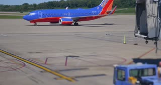 PITTSBURGH - Circa September, 2016 - A Southwest airliner taxis to the gate at the Pittsburgh International Airport.