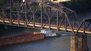 Pittsburgh Coal Barge and Subway Train