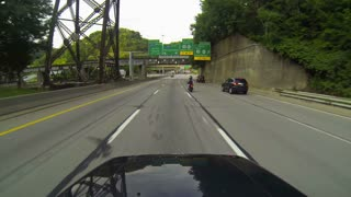 Pittsburgh Driving POV into Fort Pitt Tunnel