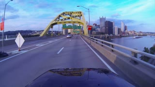 Pittsburgh Driving POV on Fort Pitt Bridge