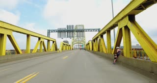 PITTSBURGH - July 31, 2016 - Bikers, walkers and pedestrians enjoy their time walking on the West End Bridge, closed to traffic for Open Streets Pittsburgh.