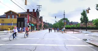 PITTSBURGH - July 31, 2016 - People and bikers participate in Open Streets in Pittsburgh's north side.