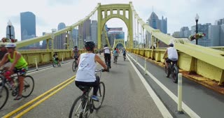 PITTSBURGH - July 31, 2016 - People walk and bike in the middle of the Roberto Clemente Bridge during Open Streets Pittsburgh. Part 1 of 2.