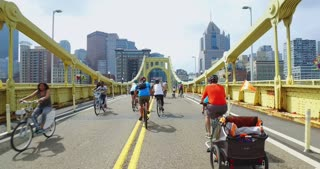 PITTSBURGH - July 31, 2016 - People walk and bike in the middle of the Roberto Clemente Bridge during Open Streets Pittsburgh. Part 2 of 2.