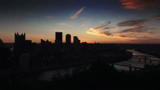 PITTSBURGH, PA - Circa, August, 2015 - A morning sunrise time lapse establishing shot of Pittsburgh as seen from Mt. Washington.