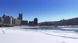 PITTSBURGH, PA - Circa February, 2015 - A winter establishing shot of Pittsburgh, PA.