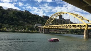 PITTSBURGH, PA - Circa September, 2015 - A Just Ducky Tour Boat carries passengers and tourists on the Monongahela River in Pittsburgh, PA.