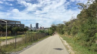 PITTSBURGH, PA - Circa September, 2015 - A rider's perspective of a bike trail near Pittsburgh.