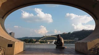 PITTSBURGH, PA - Circa September, 2015 - An establishing shot of the Mr. Rogers statue on Pittsburgh's North Shore.