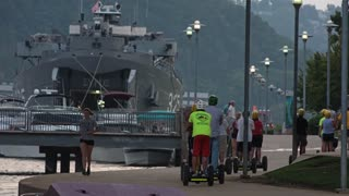 PITTSBURGH, PA - Circa September, 2015 - Tourists visit the LST 325 docked on Pittsburgh's North Shore for Labor Day holiday.
