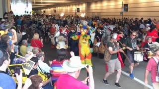 PITTSBURGH, PA - July 2, 2016 - Furries parade outside the David L. Lawrence Convention Center in downtown Pittsburgh during their 2016 Anthrocon convention.